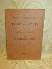 Antique Book A Musical Miscellany Of Terms And Facts, By C. Egerton Lowe - 1946