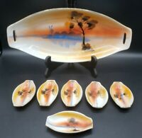 """Japan Hand Painted 12 1/4"""" Serving Dish Set With 6 Matching 3.5"""" plates Vintage"""