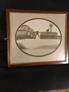 Vintage Mounted & Framed Photographic Print Sepia On Card . Industrial Age Scene