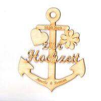 Zur Hochzeit, Anker aus Holz, Personalisiert, Geschenk mit Gravur, Maritim Meer