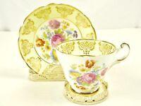 English Tea Cup and Saucer Bone China Regency England Multi Floral Gold Gilt