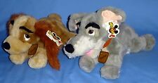 "Disney plush LADY AND THE TRAMP BEANBAG DOGS;LADY-14"";TRAMP-14""-LARGE;LOT-2;NWT"