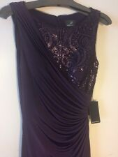 NWT $199 Adrianna Papell Purple Ball Gown/Long Dress w/Sequences Womens Size 4