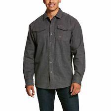 Ariat Men's Rebar Heavyweight Flannel Grey Button Work Shirt 10027822