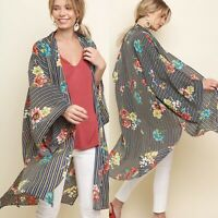 New Umgee Womans Sz S/M Boho Kimono Cover Up Top Duster Stripes Floral Blue NWT