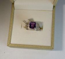 14k White Gold 4.17ctw Natural Cushion Purple Sapphire & SI White Diamond Ring