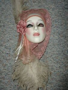 VINTAGE CLAY ART CERAMIC WALL HANGING MASK WITH FEATHERS