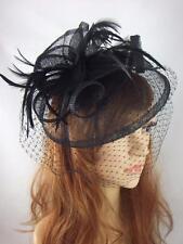 NERO Sinamay Fascinator con cappello con Birdcage Velo-occasione MATRIMONIO RAZZE funerale