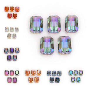 Bulk 14x10mm Rectangle Square Faceted Crystal Glass Loose Beads Necklace Finding