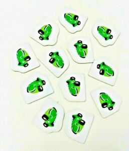 Replacement Pieces MONOPOLY JR - 12 GREEN CAR Character Sold Sign Markers
