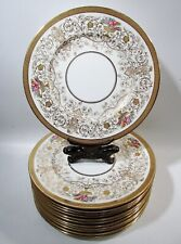 Antique Cauldon Bone China Encrusted Gold Scroll Roses 12 Service Chargers