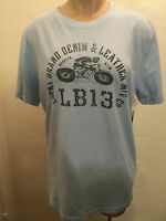 Lucky Brand Denim & Leather MFG Co Men's Graphic T-Shirt L Custom Cycles Blue