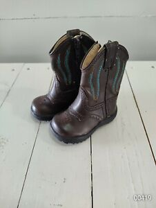 Roper newborn  BOYS Size 2 Boots Brown Blue Faux Leather Cowboy Baby