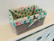 Cute Petite Hamper Storage Baskets Grey Wicker With Unique Lining Flamingo Kids