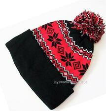"Black Red Lined Knit Hat Cuffed Beanie With Pom-Pom Snowflakes 12"" long"