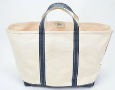 VINTAGE LL BEAN BOAT AND TOTE BAG WHITE WITH NAVY BLUE TRIM FREEPORT MA USA