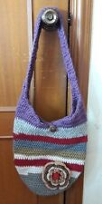Shoulder Bag Purse Crocheted Hobo Hippie  Flower Handmade Colorful Summer Deal
