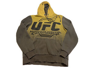 UFC Ultimate Fighting Championship MMA Hoodie Gray Yellow Size M