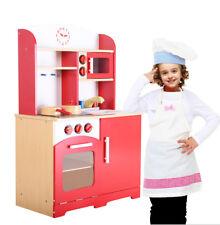 Cuisine jouet pour enfants en bois jeu du rôle d'imitation intéressant rougeNEUF
