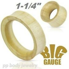 "PAIR 1-1/4""~32.5mm Organic White Crocodile Wood Double Flared Hollow Tunnel Plug"