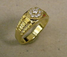 Men's Yellow Gold Plated Small Presidential Cluster CZ Fashion Ring Size 11