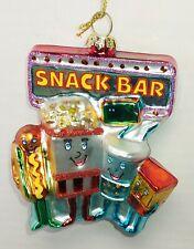 New Blown Glass Christmas Ornament Movie Theater Snack Selfie Popcorn Soda Food
