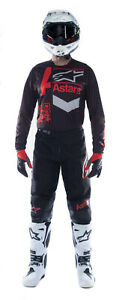 NEW ALPINESTARS 2021 FLUID CHASER RACE KIT BLACK BRIGHT RED MX MOTOCROSS SUIT