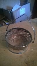 """5"""" DIAMETER VINTAGE SILVER PLATED? SUGAR BASKET WITH GLASS INSERT"""