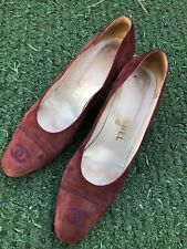 CHANEL Burgundy Suede Heels Size 39 1/2 Made in Italy