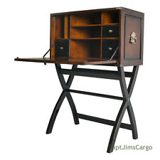 "Campaign Cabinet Hidden Computer Desk Combo 46"" Black & Honey Nautical Decor New"