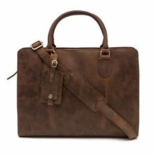 Handmade Premium Brown Leather Macbook Satchel Briefcase Laptop Bag RRP £129.99