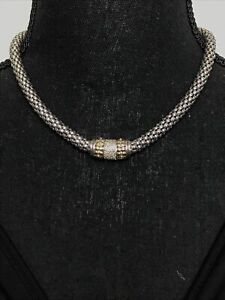 Effy D'oro 14k Gold Sterling Silver Diamond Necklace 42g