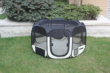 "NEW 43"" Soft Pet  Dog Cat In/Outdoor Tent  Exercise Pen Play Yard Black - 264"