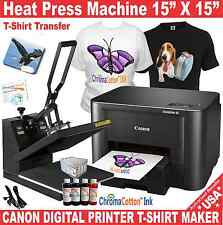 HEAT PRESS TRANSFER SUBLIMATION PLUS CANON PRINTER T-SHIRT MAKER START UP PACK