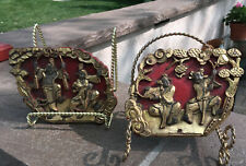 Antique Chinese Red and Gilt Lacquered Carvings Featuring Dancers
