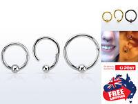 316L Steel 16g Hinged Segment Clicker Ring Ball Lip Ear Nose Body Piercing 1pc