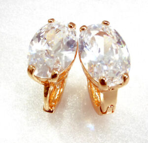 Women 18K Yellow Gold Plated Clear CZ Zirconia Snap Close Huggie Hoop Earrings