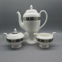 Wedgwood England Bone China ASIA - BLACK 3pc Coffee Set