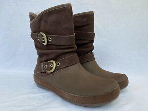 New Crocs Women's Berryessa Suede Buckle Boots, Brown, W11