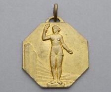 French Medal. Woman Marianne France Female Gallia Victory. Art Nouveau. Pendant.