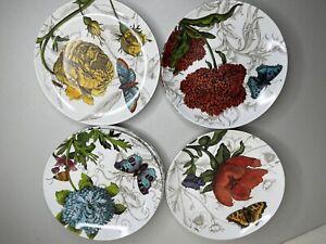 Pier 1 Import Melamine Plate Set Of 9 Salad Desert Size Flower Butterfly Camping