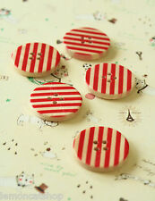 Red Wood Buttons 5pc round printed stripe sewing notions DIY scrapbooking crafts