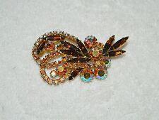Flashy Amber & AB Rhinestone & Goldtone Swirled Brooch Pin
