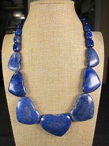 "Jay King Mine Finds HUGE chunky Lapis Lazuli hearts necklace sterling 19-22"""
