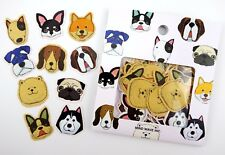 Japanese dog sticker flakes! Kawaii dog face emoji, Shiba Inu Pug Boston Terrier