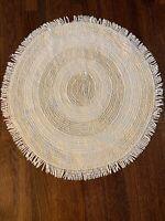 """Vintage White Round Chenille Rug Fringed Farmhouse 27"""" Boho"""