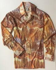 VINTAGE 70'S DISCO MEN'S SHIRT Large Authentic Costume Wardrobe Wide Collar