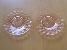 Jeannette Glass Company Depression Cube Cubist  Pink Two Saucers one has chip