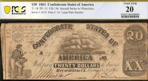 1861 $20 DOLLAR CONFEDERATE STATES CURRENCY CIVIL WAR NOTE PAPER MONEY T-18 PCGS