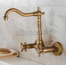 Antique Brass Wall Mounted Kitchen Bathroom Sink Faucet Basin Mixer Tap Usf006a